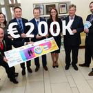 Michael Gaynor, president Dundalk chamber; Maria Doyle, chairperson Dundalk municipal district; Peter Fitzpatrick T.D., Barry Tumilty, AIB Bank; Angela Rice, Cuchulainn credit union; Paddy Malone, Dundalk chamber and Stewart Agnew, Dundalk credit union