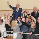 Celebration time for Fine Gael's two TDs, Fergus O'Dowd and Peter Fitzpatrick