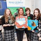 Students from St. Mary's College, Dundalk with Nora Casey at the 'Kids for Wish Kids' awards, pictured with their award for excellence in 'Marketing and Communications' for their UPCYCLE Trade Fair fundraiser