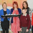 Author of 'Spirit of the Titanic' Nicola Pierce (centre), with Siobhan Sheerin, O'Fiaich College, Yvonne Gallagher, De La Salle Primary School, Kanisha Conlon and John Gray, St. Joseph's NS and Dean Grimes, Redeemer Boys' School at the official launch of One Book One Dundalk held in The Town Hall