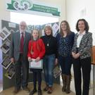 Dr Michael Farry, art competition winner Martyna Vindasiute, her mum Ingrid Vindasiute, teacher Tess Hughes and 1916 project coordinator Marie Sheppard