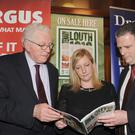 Seamus Kirk, Anne Campbell and John Mulligan at the official launch of The Rising Centenary: Louth 1916-2016 commemorative magazine in The Windsor Bar