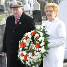Seamus Keelan and Betty McNally at the Dundalk and District old IRA annual commemoration at St. Patrick's Cemetery.