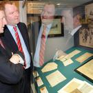 Curator at The County Museum, Brian Walsh and Taoiseach Enda Kenny TD at the official opening of the 'Birth of a Nation-the Evolution of Irish Nationhood, 1641-1916' exhibition in the County Museum, Dundalk