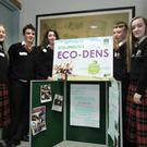 Some of the students from Coláiste Lú with their project 'Coláiste Lú i dtreó Glas'at the Lough Neagh discovery centre in Co Armagh