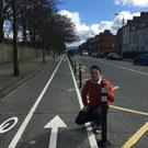 Cllr. John McGahon at the St Mary's Road cycle lanes. He say she will be raising the 'hugely important' issue at tonight's meeting of Dundalk Municipal District Committee