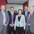 At the launch of the DFP bursary for schools awards (from left) Sean Thornton, St Louis; Eoin Doohan, MD DFP Group; Deirdre Matthews, St Louis School principal; Seamus O Hanlon, QFA Director DFP Group and Frank Cooney, Chairman of the St Louis Board of Management