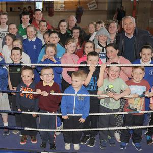 John Fitzpatrick, with members of O'Hanlon Park Boxing Club who attended a celebration party in St. Nicholas Hall