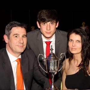 Callum O'Dowda pictured with his parents Nicholas and Brenda after he won the Oxford United Young Player of the Year Award in 2013