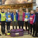 Pictured at the Lidl store in Dundalk at the prize hand-over for the Lidl LGFA Post-Primary Schools Store Competition are students and representatives from St. Vincents Secondary School GAA team in Dundalk, Co. Louth