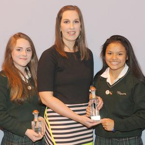 Kate O'Byrne presenting the Basketball awards to 1st Yr Kayla Byrne, U-16 Dáirine White, U19 Jewell Rosagaran and 2nd Yr Eryn Traynor