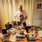 The Boss's no.1 fan ... Anton Martin with some of his Bruce Springsteen collection