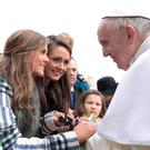 Meabh and Hannah meet Pope Francis