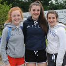 Áine O'Connor, Sarah Morgan and Bronagh Mulholland at the Dundalk Gaels GFC fundraising walk which started from The Lumpers. Photo: Ken Finegan