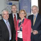 Dr Anthony Soares Director of the Centre for Cross Border Studies Dr Edgar Margenroth Associate Research Professor ESRI Mairead McGuinness MEP Fine Gael and Tom Arnold Director General IIEA at the IIEA and European Parliament Seminar on Britain's EU Decision in the Crowne Plaza Hotel Dundalk