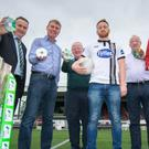 Current Dundalk FC captain Stephen O'Donnell and previous captains John Murphy (1962/63) (left) and Dermot Keely (1979/81) are pictured at Oriel Park to formally launch the third in a series of YouTube videos produced on the club's behalf by team sponsors Fyffes. With them are Fyffes Ireland managing director Gerry Cunningham, Dundalk FC manager Stephen Kenny and Fyffes marketing manager Emma-Hunt Duffy