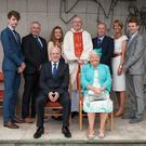The Quigley family, back-row, from left: Fr Damien with his nephew, Devin, his brother Vincent, niece Niamh, brother Martin, sister-in-law Regina. Front, parents Thomas and Pacella
