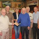 Eva Beirne, Co-ordinator, Louth Community Men's Sheds, with members of the organising committee of the Men's Sheds' Golf Classic. Included are, Sean Loughran, Eamonn Cosgrove, Matt Keating, Peter Gray, Terry Dillon, Brian Byrne, Brendan Tuite, Owen Hanratty and Peter O'Neill