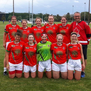 Ciara Lane is pictured, 4th from left in the back row, with her Western Canada team at this week's 2016 GAA World Games