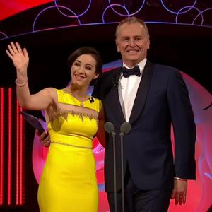 Louth Rose Megan Ferguson on stage with presenter Daithi OSe