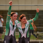 Katie-George Dunlevy of Ireland, right, and her pilot, Eve McCrystal, celebrate after they were informed that they had won gold in the Women's B Time Trial at the Pontal Cycling Road during the Rio 2016 Paralympic Games