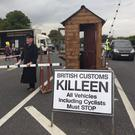 Mock customs checkpoints were posted at Carrickarnon on Saturday as part of the Border Communities Against Brexit protest