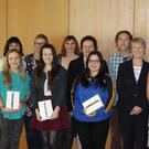 DkIT President Ann Campbell with the winners of the Information Literacy awards