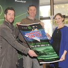 Martin McElligott (left), Town Centre Manager, Brendan Treacy, Dundalk On Ice Promoter, and Marianne Murphy, Head of Marketing, SIRO, at the official launch of Dundalk On Ice at Market Square (18th Nov-8th Jan)
