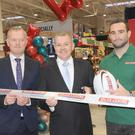Dave Kearney, with John Mohan, Fintan Smyth and Leo Crawford, BWG Group, at the official opening of Value Centre, Ecco Road, Dundalk