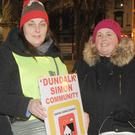Roisin Curtis and Sonya Smyth at the sleep out for the Dundalk Simon Community at Market Square