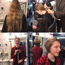 Ava Tinsley before, during and after her transformation for the Rapunzel Foundation. Pictures from the Hair Shop
