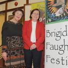 Dolores Whelan and Cllr. Maeve Yore at the launch of the 10th Brigid of Faughart Festival in The County Library, Dundalk