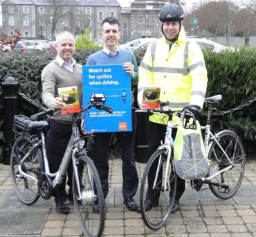 'County Hall Photo' L-R Graham Russell Louth County Council Sports Centre Manager/Recreation Officer, Adrian OSullivan, Road Safety Officer, Eugene Mulholland LCC Employee and Commuter Cyclist
