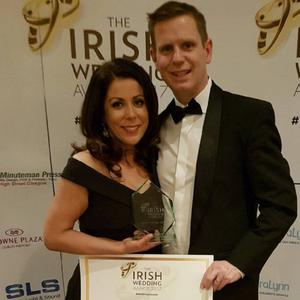 Caroline Shevlin of The Flower Studio with her husband Cllr Thomas Sharkey at the Irish Wedding Awards