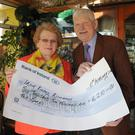 Maura and Jackie Callan who presented a cheque for €6,210, the proceeds of their recent wedding anniversary to the Beaumont Renal Support Centre. Picture: Ken Finegan