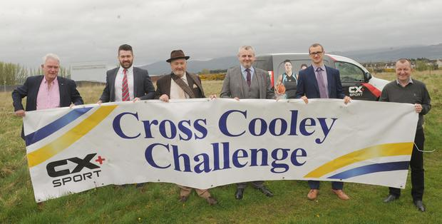Errol Boyle and Fergus McArdle, The Cross Cooley Challenge Committee, with Jonathan Williams, Paddy Keenan, Barry Oliver, Cathedral Financial Consultants and David Minto, CX + Sport at the official launch of The Cross Cooley Challenge