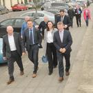 Sean Canney TD Minister for State at Office of Public Works and Flood Relief in Blackrock, with Peter Fitzpatrick TD, Cllr. Maria Doyle, Joe Bailey and Larry Magnier, Blackrock Tidy Towns, Brian McQuillan, along with Paul Costello and Aidan Harney, OPW