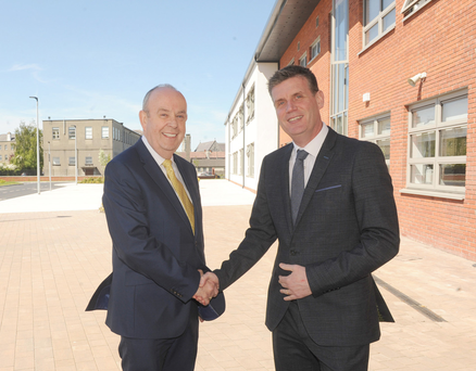 Outgoing Principal, Con McGinley (left), with incoming Principal, Alan Craven at St. Mary's College