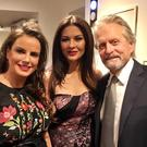 Dundalk born singer-songwriter, Cathy Maguire, pictured with Catherine Zeta Jones and Michael Douglas in New York