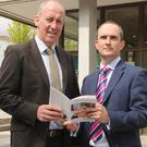 Seamus O'Hanlon and Keith Butler, Sales Director at the announcement of Acorn Life's new branch in the Louth/Fingal area in Dundalk this week