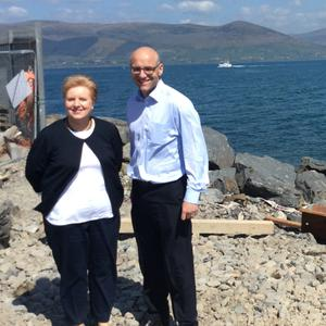Pamela Houston, Chief Executive, Carlingford Ferry and Paul O'Sullivan, Founder and Chief Executive, Carlingford Ferry, pictured overlooking Carlingford Lough from the Greenore Ferry terminal last week.