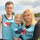 Andrew Gallagher pictured with his wife Nicola and daughter Evie is hoping to take part in the Rock 'n' Roll marathon in Las Vegas in November.
