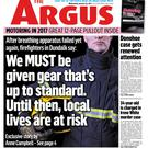 The front page of the Argus from January this year.