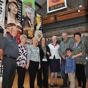 Tidy Towns members Joe Berrill, Kathleen Dunbar, Helen Byrne (Chairperson), Anita McEneaney, Assumpta Gray, Colm and Rafael Matthews and Catherine White at the launch of the new banners held in the County Museum. Pictures: Ken Finegan