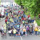 Members of the Conlon family, race organising committee, stewards and volunteeers with 200 participants on the starting line of the Castlebellingham 30K Cycle in aid of The Gary Kelly Centre and The North Louth Hospice and held in memory of Sean Conlon