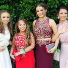 Amy Fergus (left), Vincent Avenue, Kayleigh O'Rourke, Ashling Park, Jodie Lee, Beechmount Drive, Daniella Murphy, Clann Chullainn Park and Rebeka Herczeg, Avenue Road, who attended the St. Louis Secondary School Debutante Ball