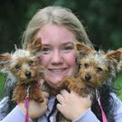 Ruth Mundow with 'Minnie' and 'Millie', Tea Cup Yorkshire Terriers at the Picnic in the Park in aid of Dundalk Dog Rescue.
