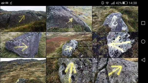 Derek Watters took these pictures of the yellow arrows on 18km stretch of Cooley Mountains