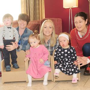 Ciera Laverty, Tracy Roddy and Caroline Macken, with their children, Eoghan, Sadie and Olivia