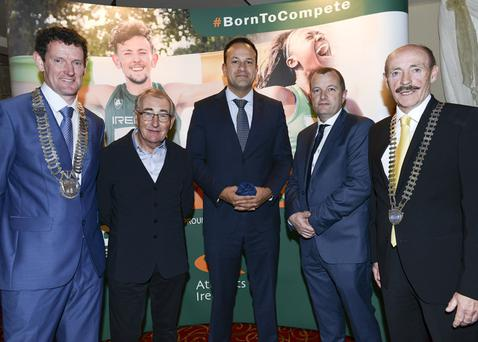 Colm Markey Chairman Louth County Council, Tommy CX Sport, An Taioiseach Leo Varadkar, David Minto CX Sport and Michael Gaynor, Dundalk Chamber President at An Taoiseach Lunch at Carrickdale Hotel